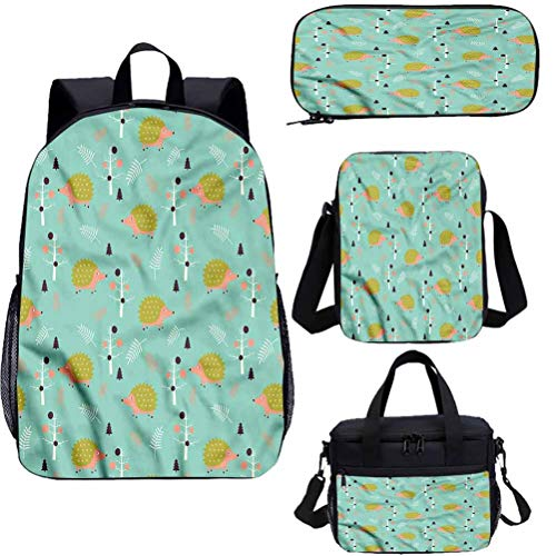 Hedgehog 15' Backpack With Lunch Bag Pencil Case Set,Countryside Life Art 4 in 1 Backpack Sets