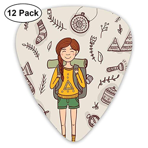 Guitar Picks Hiker Girl con una mochila con Doodle Boho Ethnic Ornate...