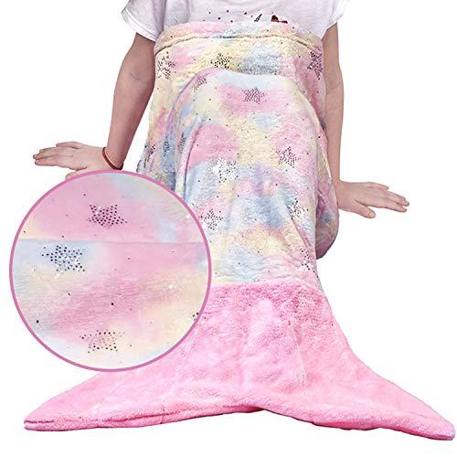 softan Kinder Meerjungfrau Decke Meerjungfrauenflosse Mädchen Kuscheldecke mit Fischschwanz Flanell-Fleece Decke alle Jahreszeiten Schlafsack, Geschenk für mädchen, Kinder,Rosa 43x100cm