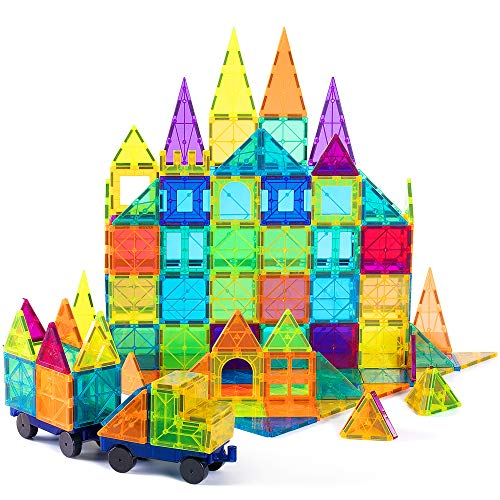 cossy Kids Magnet Toys Magnetic Tiles, 120 PCs Magnetic Building Blocks, Educational Toys for Kids Children with 2 Car Sets