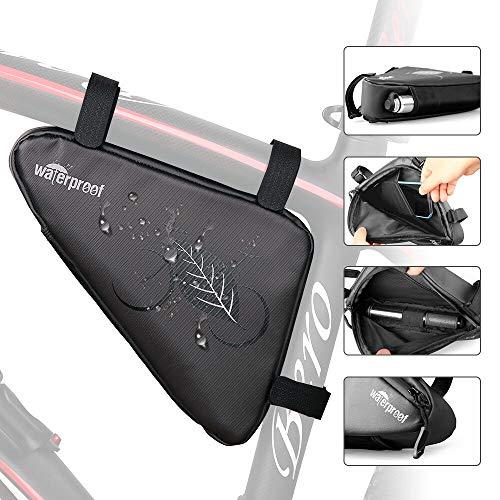 WOTOW Fahrrad-Rahmentasche Triangle Bag, Fahrrad-Aufbewahrungsbox Front Tube Bag Wasserdichter Saddle Pouch Strap On Fahrradzubehör Accesso Pack mit Nylon-Mesh-Tasche Rennrad(Kapazität von 1.5 hat)