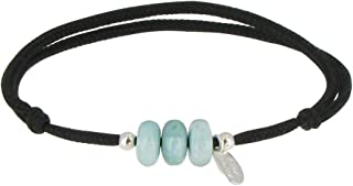 Les Poulettes Jewels - Bracelet Link 3 Blue Dominican Larimar Beads and Silver Beads