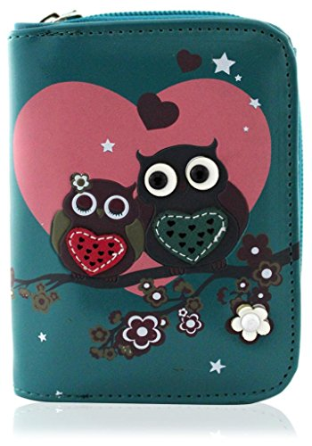 kukubird Owl Family Tree Pattern Medium Size Damen Geldbeutel-Handtasche - 37 BLUE