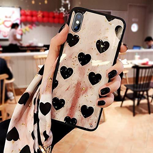 Retro Gold Foil Case IPhone X Pink Love Frosted Cover Glad Ultradun Schokbestendig TPU Bumper Case, met Zijde Sjaal AA+++++++