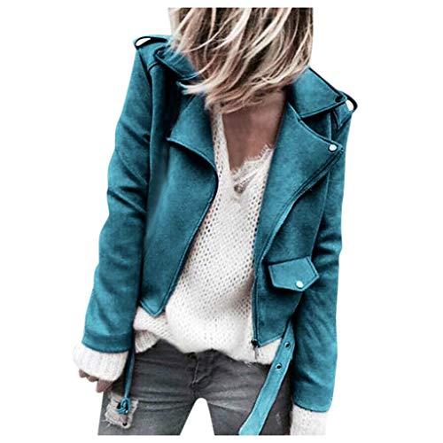 Ouice Damenjacke, Lederjacke, kurz, Bombers, lange Ärmel, Streetwear, warm, einfarbig, Bordeaux, Reißverschluss, Jacke, Mantel S-5XL Gr. 36, 31-blau