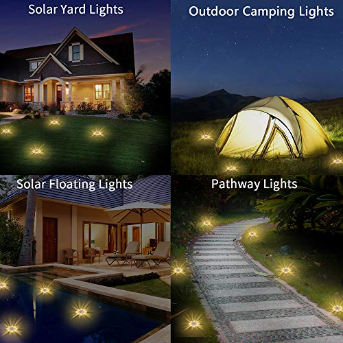 JESLED Solar Ground Lights, 8 LED Solar Garden Lights Outdoor Waterproof for Landscape Lighting Lawn Pathway Yard Driveway in-Ground Disk Buried Lights 2Pack