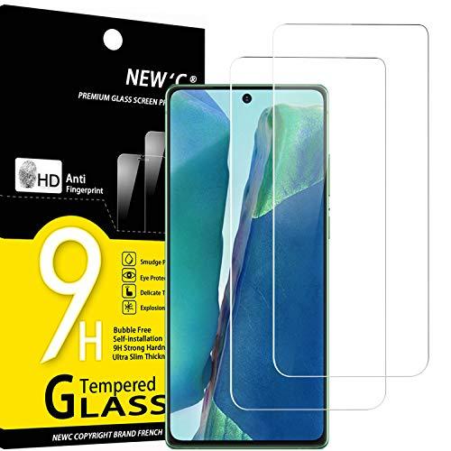 NEW'C Lot de 2, Verre Trempé Compatible avec Samsung Galaxy Note 20, Film Protection écran sans Bulles d'air Ultra Résistant (0,33mm HD Ultra Transparent) Dureté 9H Glass