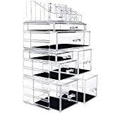 InnSweet Makeup Organizer Acrylic Cosmetic Storage Drawers and Jewelry Display Box, 4 Pieces Makeup Holders, Clear
