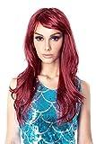 Peluca Larga Rizada Roja de Cosplay, Peluca Roja Ondulada Rizada, Traje Sirena Mujer y NIña, Pelo de 60cm de Longitud de Anime (Granate-sólo peluca)