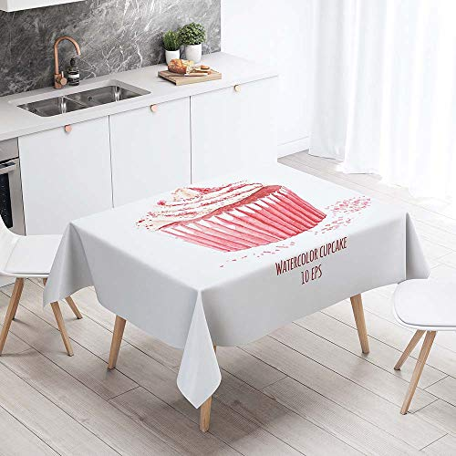 Fansu Antimanchas Mantel para Mesa Rectangular, Impermeable Lavable Poliester Donut de Postre 3D Mantel - Adecuado para Decorar Cocina Comedor Salon (Pastel Rosa,140x260cm)