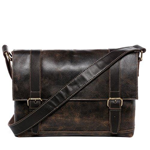 BACCINI® Borsa messenger vera pelle LEON tracolla laptop porta pc 15,6 pollici borsello a spalla Lavoro uomo donna cuoio marrone