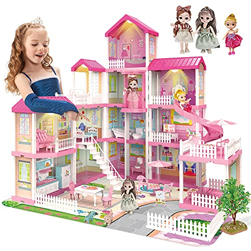 Dreamy Dollhouse Playset with Elevator,Slide,Stairway,Lights,Furniture,Accessories,Pretend Play Dreamhouse with 3 Dolls& 2 Pets,Best DIY Doll House for Girls Toddlers (13 Rooms)