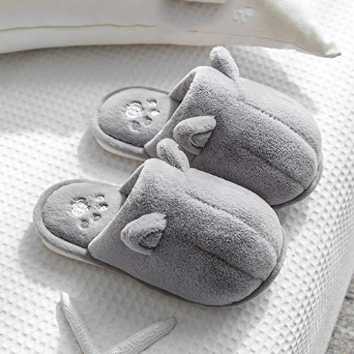 AYDQC Mujeres Invierno Zapatillas para el hogar Unisex Dibujos Animados Perro Pata Zapatos Antideslizante Suave cálido casa Zapatillas Dormitorio Interior Parejas Zapatos de Piso