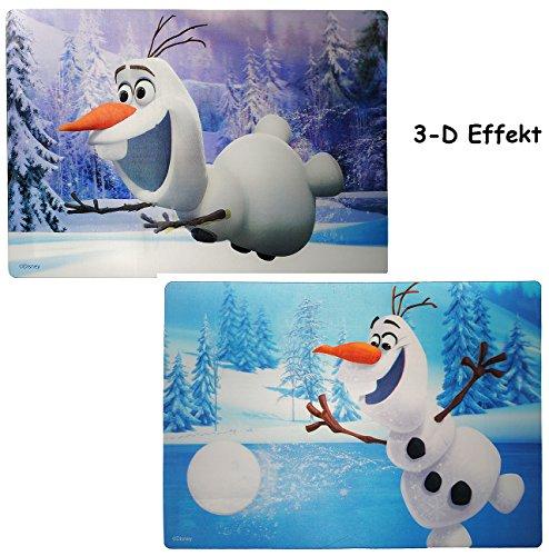 alles-meine.de GmbH 1 Stück _ 3-D Effekt Unterlage -  Frozn / Disny die Eiskönigin - Olaf  - 42 cm * 29 cm - Tischunterlage / Platzdeckchen / Malunterlage / Knetunterlage / Eßu..