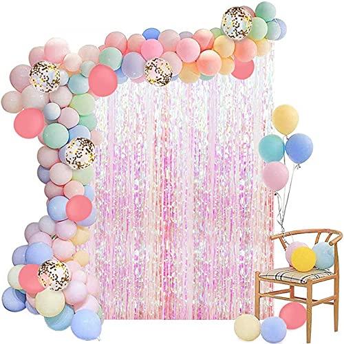 plhzh Gallobo Guirnalda Kit macarrón Globo arqueado Tassel Cortina Fiesta de cumpleaños decoración de la Ducha