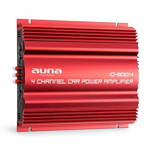 auna C500.4 - Car HiFi Verstärker, 4-Kanal Auto-Endstufe, Car Amplifier, Leistung: 4 x 65 Watt RMS, regelbarer Hoch- und Tiefpass-Filter, Frequenzbereich: 10 Hz - 30 kHz, brückbar, rot
