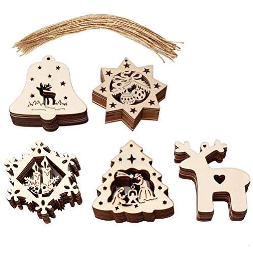 nuoshen 50 Pcs Wood Christmas Ornament, Christmas Hanging Embellishments Ornaments Wooden Slices Tags Decorations with Strings for DIY Party Craft, Card Making and Christmas Decorations