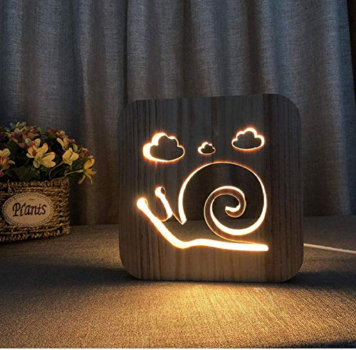 LED-verlichting Magical Snail Illusion 3D Wood Mood Lamp USB-tafel tafellamp glowing basis decoratief licht