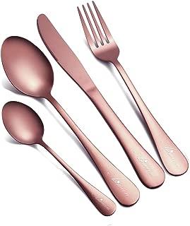 Flatware Set, 24-Piece Rose Gold Silverware Set Dishwasher Safe Stainless Steel Cutlery Set for Home Kitchen Hotel Restaurant Tableware Service for 6 (Rose Gold, 18/10 Steel)