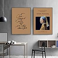 レトロなファッションヨーロッパの牧歌的なスタイルのポスターとプリントキャンバス絵画アート壁の写真肖像画のキャラクター家の装飾-50x70cmx2フレームなし
