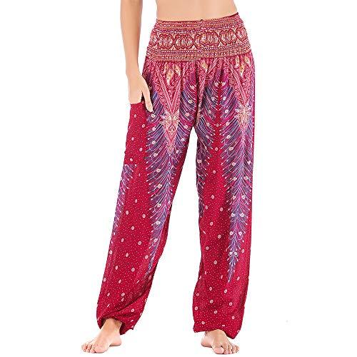 Mujer Hippie Thai Algodón Harem Pantalones con Bolsillo Boho Estampados Sueltos Pantalón Cintura Alta Indios Yoga Pants Pijama Verano Playa