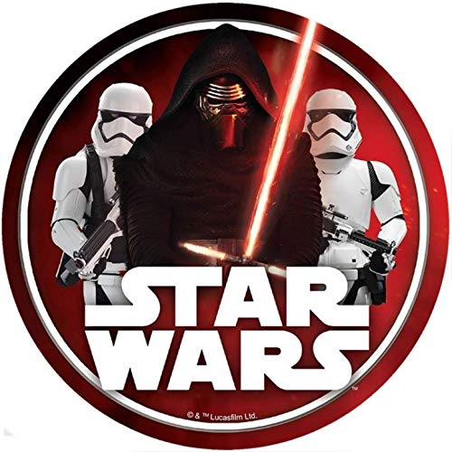 Star Wars Runde Tortenaufleger 20CM - Geburtstag Tortenbild Zuckerbild Tortenplatte Oblate Kuchenzuckerplatte