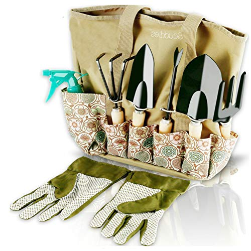 Scuddles Garden Tools Set - 8 Piece Heavy Duty Gardening Kit...