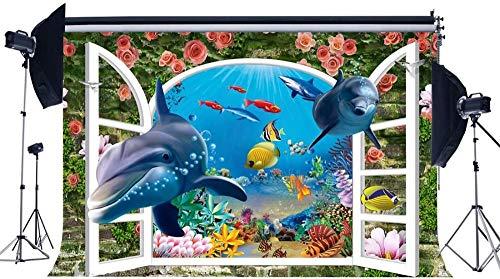 NEW Vinyl 7X5FT 3D Backdrop Underwater World Backdrops Fish Dolphin Crash Brick Wall Fresh Rose Flowers Photography Background for Tv Wallpaper Kids Summer Ocean Sailing Photo Studio Props 439