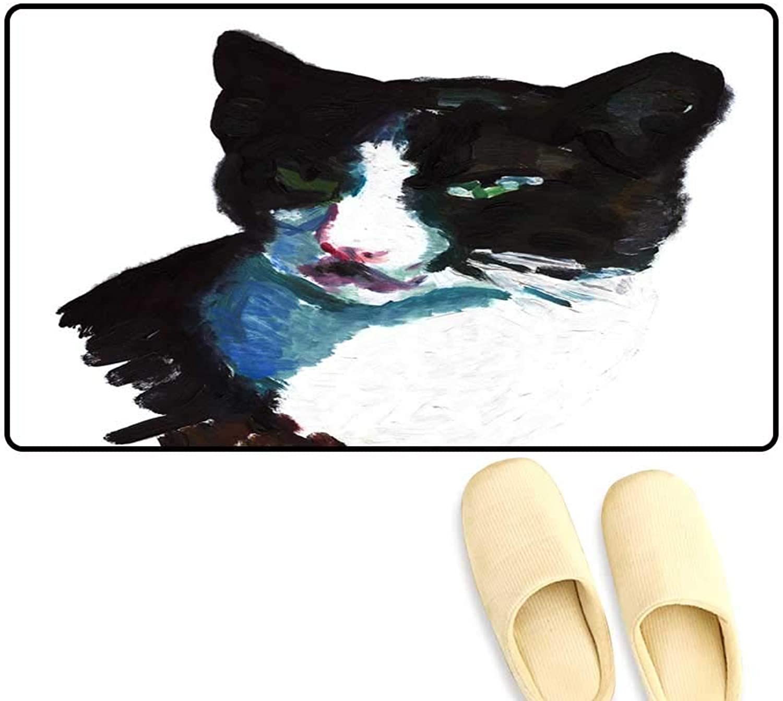 High Water Absorption Door mat Black cat wi White Spots Mean
