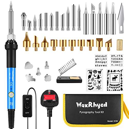 Wood Burning Pyrography Pen Kit 39Pcs WaxRhyed, Wood Burning and Soldering...