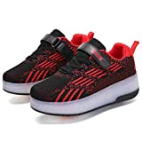 WANGT Clignotante Chaussures à roulettes,Roue Chaussures de Sport,LED USB Rechargeable Single...