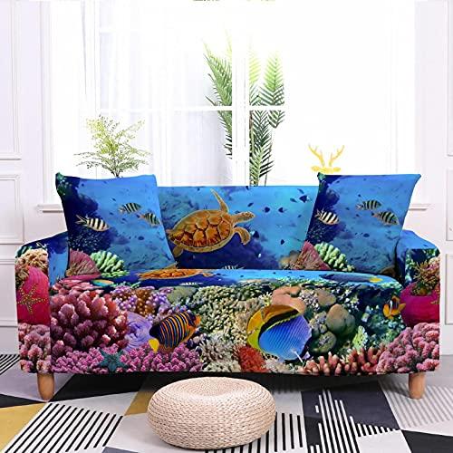Gpink Fundas De Sofá De La Serie Ocean con Impresión Digital 3D, Funda De Sofá Elástica con Todo Incluido, Funda Completa, Cojín De Sofá De Tela para El Hogar