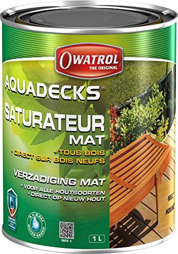 OWATROL – AQUADECKS – Saturateur Mat à l'Eau pour Protection Bois Exotiques Extérieurs Teck Ipé Bangkiraï Acacia Maçaranduba – Saturateur Miel – 1 L