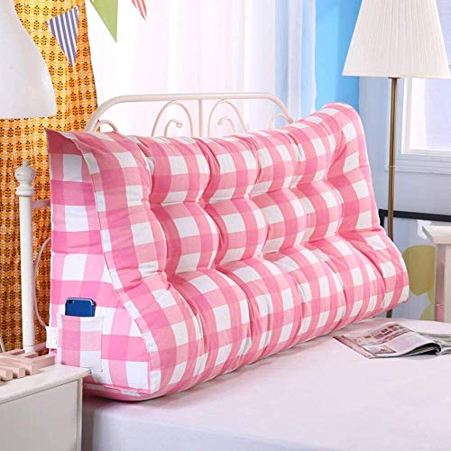 Wall Pillow For Bed Large Cushion Soft Triangle Wedge Pillow Headboard Reading Backrest Cushion Positioning Support Lumbar Cushion Long Pillow Cushion (Color : D, Size : 180cm(5.9ft))