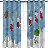 Cortinas para Puertas corredizas Navidad Térmica Prevención de Ruido Ojales Cortinas Calcetines Colgante Pájaro Juego de 2 Paneles