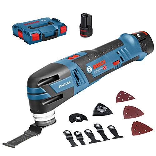 Bosch Professional 12V System Akku Multi-Cutter GOP 12V-28 (Starlock-Werkzeugaufnahme, inkl. 3,0x Ah Akku + Schnellladegerät, 1xDeltaschleifplatte, 5xSchleifblätter, 3xTauchsägeblatt, in L-BOXX 136)