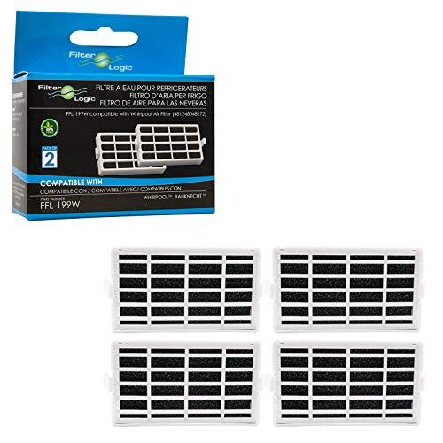 Filterlogic FFL-199W | 4er Pack - Antibakterielle Hygiene Luftfilter für Bauknecht Whirlpool Side-by-Side Kühlschrank - kompatibel mit Microban ANT001, ANT-001, ANTF-MIC, HYG001, 481248048172