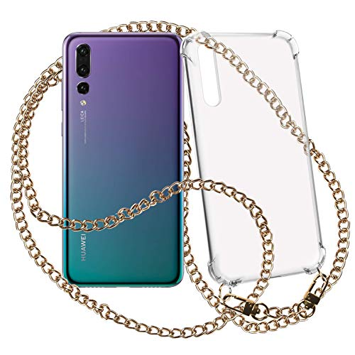 mtb more energy Collana Smartphone per Huawei P20 PRO (6.1'') - Catena di Metallo (Oro) - Funda protectora ponible - Carcasa Anti Shock