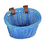 syiniix Oval Shape Wicker Bike Basket, Front Handlebar Kid's Bicycle Basket. (Blue)