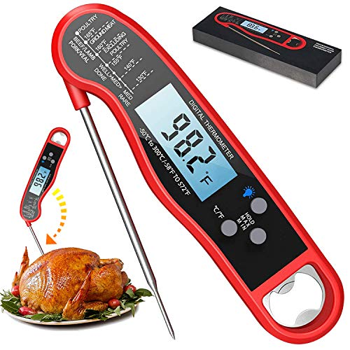Digital Instant Read Meat Thermometer, Waterproof Ultra Fast Food Thermometer with Backlight and...