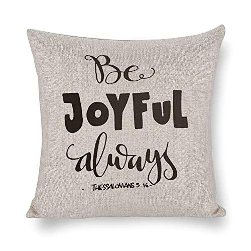 DKISEE Funda de almohada Joy Be Joyful Bible Verse HLettered Cita Fundas de almohada 45,7 x 45,7 cm para dormitorio, sala de estar, 1 pieza