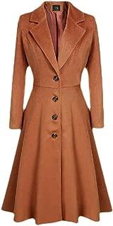 neveraway Womens Single Button Peplum Notch Lapel Solid Parka Outwear Trench