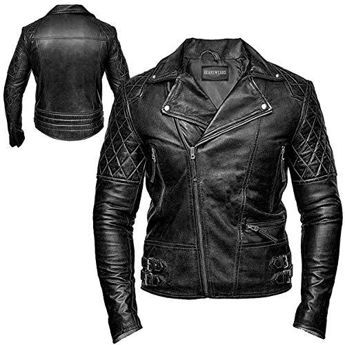 Gearswears Schwarze Fashion Retro Cafe Racer Vintage Lederjacke für Herren mit exklusivem Gefahren-Design aus echtem Ziegenleder Bestickt und Laserdruck Gr. Medium, Schwarz