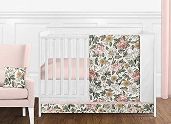 Sweet Jojo Designs Vintage Floral Boho Baby Girl Nursery Crib Bedding Set - 11 Pieces - Blush Pink Yellow Green and White Shabby Chic Rose Flower Farmhouse