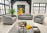 lifestyle4living Couchgarnitur in grauem Stoff bezogen, Garnitur bestehend aus Sessel, 2-Sitzer und 3-Sitzer Sofa