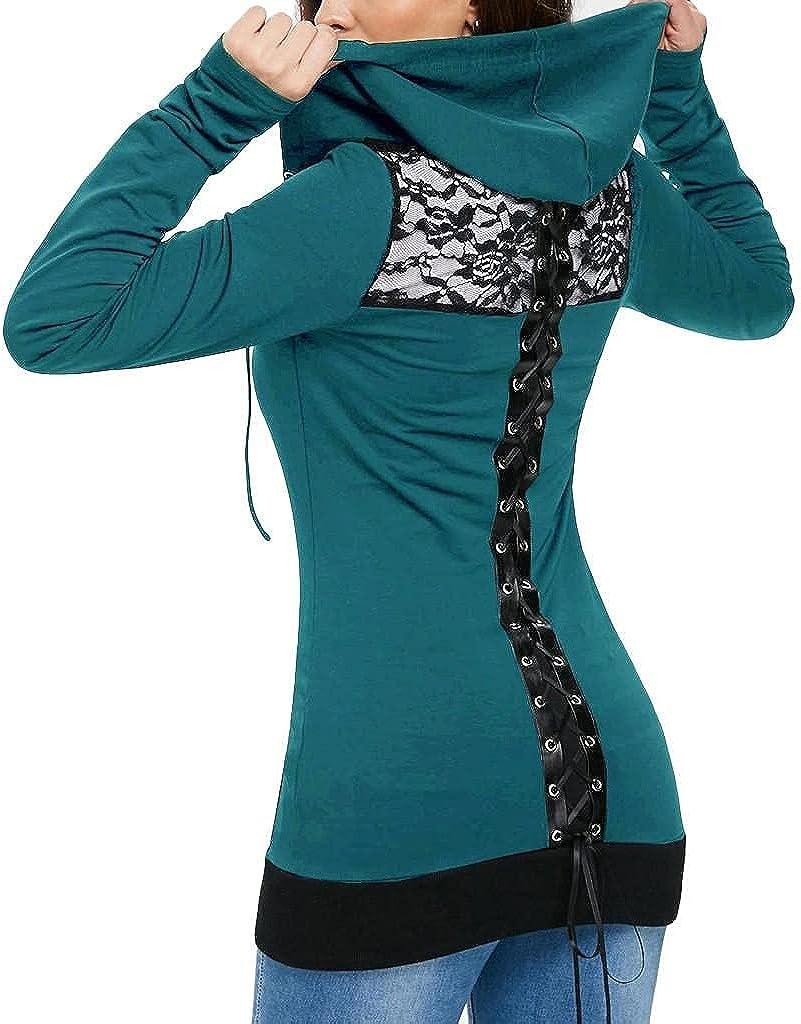 Xinantime Women's Bandage Lace Sweatshirt Casual Long Sleeve Lace Up Shirt Ladies Slim Fit Hoodie Tunic Zip Up Coat