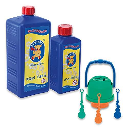 Pustefix Bubble Eimer Verschüttnix + Nachfüllflasche Maxi 1,0 L I Seifenblasen-Eimer + 1000 ml Seifenblasenwasser I Bubbles Made in Germany I Seifenblasen-Spielzeug für Kindergeburtstag & Sommerfest