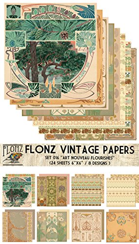 Medieval Patterns FLONZ Vintage Styled Paper for Decoupage Decoupage Paper Pack 24 Sheets 6x6 Craft and Scrapbooking