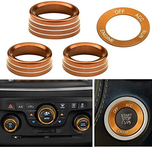 SDGH 4 Piezas de la Cubierta del botón del acondicionador de Aire y el botón de Arranque del Motor Decoración de la Perilla para 2015-2020 Dodge Challenger Charger, Orange