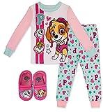 Paw Patrol Girl's 2 Piece PJ Set with Slipper Bundle,Pink,100% Cotton,Toddler Size 2T